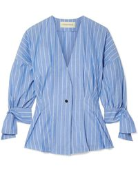By Malene Birger - Trivano Striped Cotton-poplin Blouse - Lyst