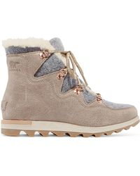 Sorel - Sneakchic Alpine Shearling-lined Felt And Suede Ankle Boots - Lyst