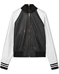Tomas Maier | Zip-embellished Two-tone Leather Bomber Jacket | Lyst
