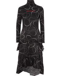 Balenciaga - Printed Jersey And Silk-jacquard Turtleneck Dress - Lyst