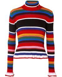 MSGM - Striped Ribbed Wool-blend Turtleneck Jumper - Lyst
