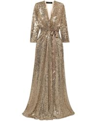 Jenny Packham - Satin-trimmed Sequined Silk Wrap Gown - Lyst