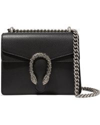 7c59c2030ce Gucci Dionysus Suede And Leather Shoulder Bag in Black - Lyst