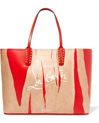 Christian Louboutin - Cabata Kraft Studded Printed Leather Tote - Lyst