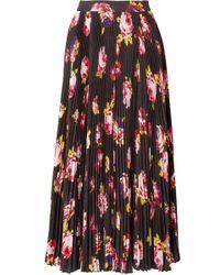 MSGM - Floral-print Plissé-crepe Midi Skirt - Lyst