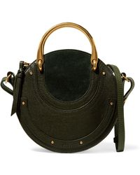 Chloé - Pixie Suede And Textured-leather Shoulder Bag - Lyst