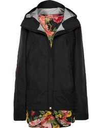 Junya Watanabe - Hooded Layered Shell And Floral-print Georgette Jacket - Lyst