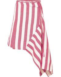 Marques'Almeida - Asymmetric Striped Linen-blend Wrap Skirt - Lyst