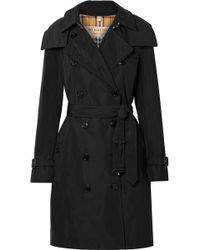 Burberry - The Kensington Leather-trimmed Shell Trench Coat - Lyst