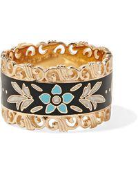 Gucci - Icon 18-karat Gold And Enamel Ring - Lyst
