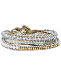 Chan Luu - Gold-plated, Amazonite, Agate And Leather Wrap Bracelet - Lyst