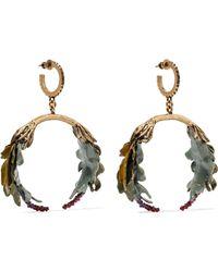 Valentino - Garavani Bloomy Enamelled Gold-tone Earrings Gold One Size - Lyst