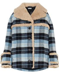 Miu Miu - Shearling-trimmed Checked Wool-blend Flannel Jacket - Lyst