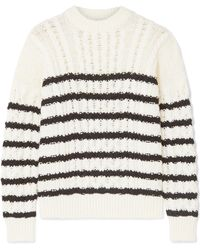 Loewe - Striped Cable-knit Wool Sweater - Lyst