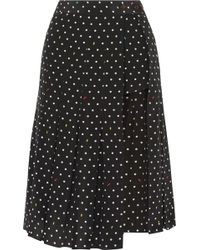 Sandy Liang - Uniform Cutout Polk-dot Silk-crepe Skirt - Lyst
