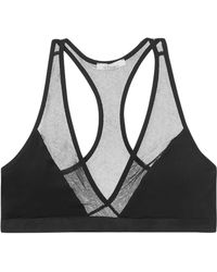 Skin - Stretch-cotton And Tulle Soft-cup Triangle Bra - Lyst