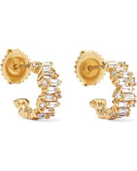 Suzanne Kalan - 12mm 18-karat Gold Diamond Hoop Earrings - Lyst