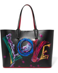 Christian Louboutin - Cabata Spiked Printed Leather Tote - Lyst