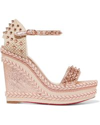 Christian Louboutin - Madmonica 120 Spiked Metallic Cracked-leather Espadrille Wedge Sandals - Lyst