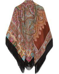 Etro - Fringed Paisley Wool-blend Jacquard Wrap - Lyst