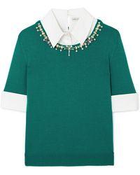 Mary Katrantzou - Ella Embellished Layered Cotton-blend Poplin And Wool Sweater - Lyst