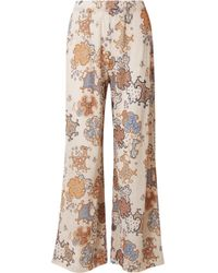 See By Chloé - Printed Crinkled-chiffon Wide-leg Trousers - Lyst