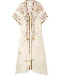 Miguelina - Genesis Embroidered Silk-satin Kaftan - Lyst