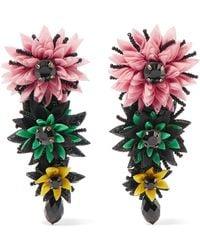 Etro - Silk-tulle, Bead And Crystal Clip Earrings - Lyst