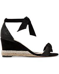 Alexandre Birman - Clarita Bow-embellished Suede And Raffia Espadrille Wedge Sandals - Lyst