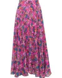 Saloni - Ida-b Floral-print Silk-chiffon Midi Skirt - Lyst