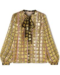 Temperley London - Pussy-bow Printed Fil Coupé Chiffon Blouse - Lyst