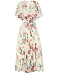 Maje - Shirred Floral-print Georgette Midi Dress - Lyst