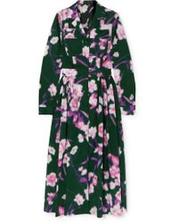 Dries Van Noten - Pleated Floral-print Cotton-poplin Midi Dress - Lyst