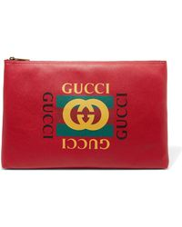 Gucci - Printed Textured-leather Pouch - Lyst