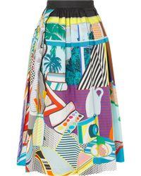 Mary Katrantzou - Bowles Printed Stretch-cotton Midi Skirt - Lyst