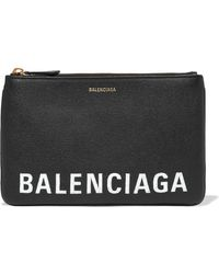 Balenciaga - Ville Printed Textured-leather Pouch - Lyst