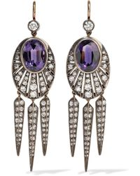 Fred Leighton - Collection 18-karat Gold, Silver, Diamond And Amethyst Earrings - Lyst