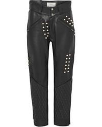 Rodarte - Faux Pearl-embellished Leather Trousers - Lyst