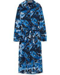 Michael Kors - Printed Silk Crepe De Chine Midi Dress - Lyst