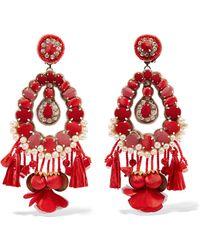 Ranjana Khan - Lennox Mother-of-pearl, Raffia And Crystal Clip Earrings - Lyst