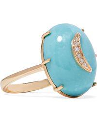 Andrea Fohrman - Crescent Moon 14-karat Gold, Turquoise And Diamond Ring - Lyst