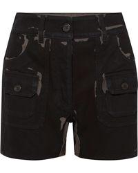 Prada - Printed Denim Shorts - Lyst
