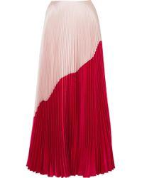 Reem Acra - Pleated Colour Block Skirt - Lyst