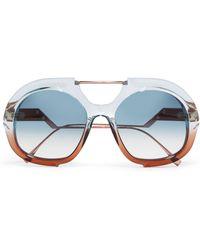 Fendi - Round-frame Two-tone Acetate And Rose Gold-tone Sunglasses - Lyst