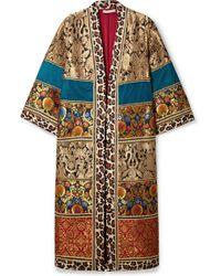 Alice + Olivia - Lynn Leopard-print Cotton-trimmed Jacquard Kimono - Lyst