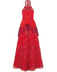 Marchesa notte - Embroidered Neoprene, Point D'esprit And Guipure Lace Gown Red Us0 - Lyst