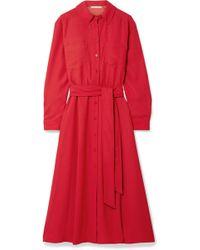 Veronica Beard - Cary Belted Crepe Midi Dress - Lyst