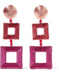 Oscar de la Renta - Beaded Silk Clip Earrings - Lyst