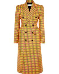 Balenciaga - Checked Double-breasted Wool Coat - Lyst