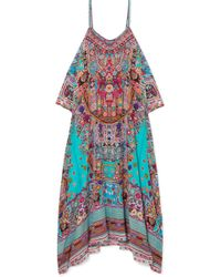 Camilla - The Long Way Home Embellished Printed Silk Crepe De Chine Kaftan - Lyst